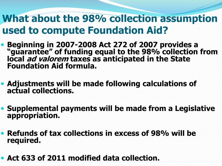 What about the 98% collection assumption used to compute Foundation Aid?