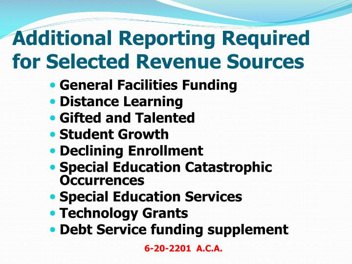 Additional Reporting Required for Selected Revenue Sources