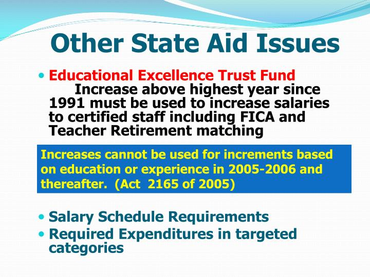Other State Aid Issues