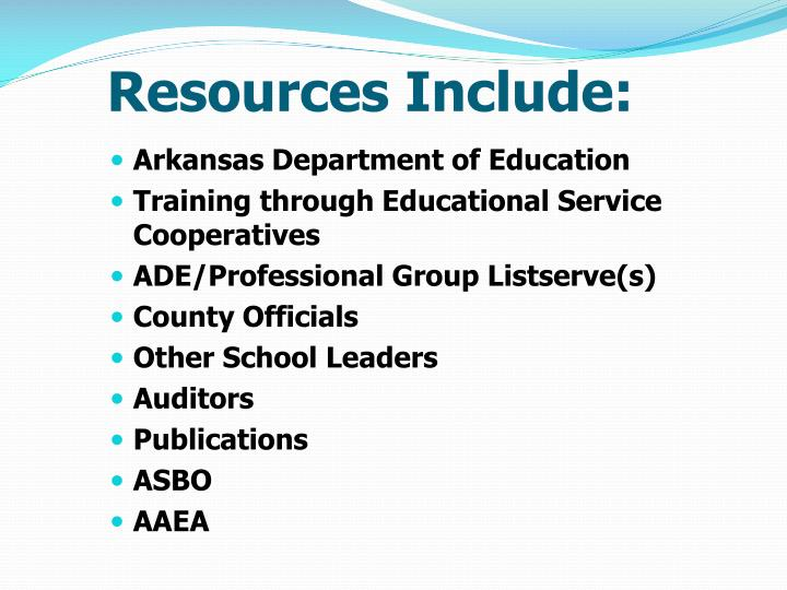 Resources Include: