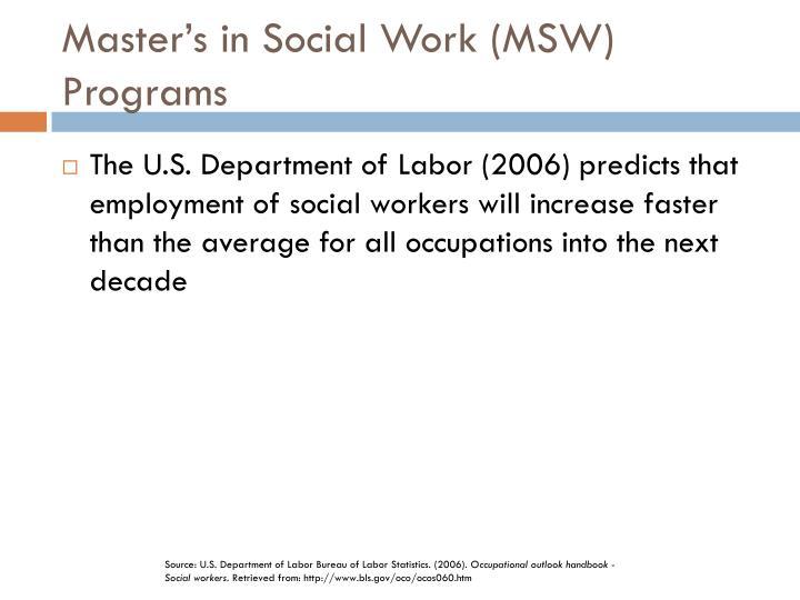 Master's in Social Work (MSW) Programs