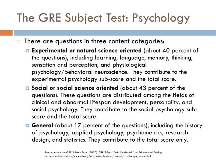 The GRE Subject Test: Psychology