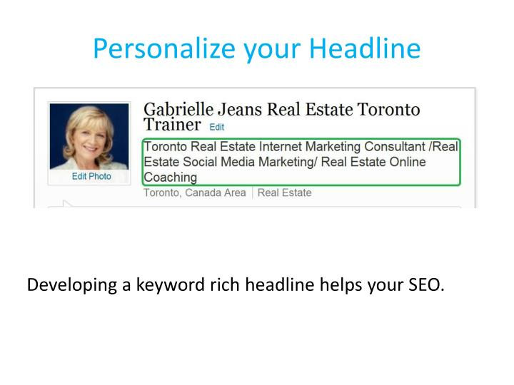 Personalize your Headline