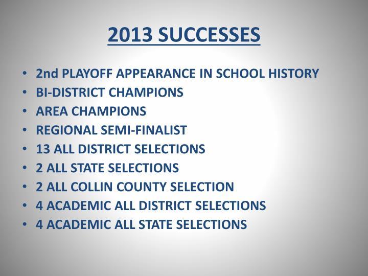 2013 SUCCESSES