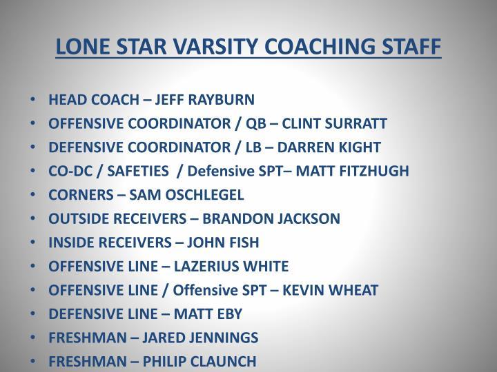 Lone star varsity coaching staff