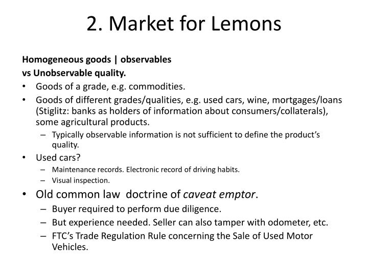2. Market for Lemons