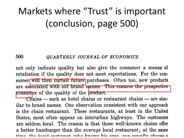 "Markets where ""Trust"" is important (conclusion, page 500)"