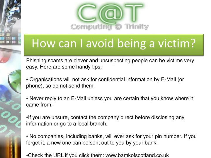 How can I avoid being a victim?