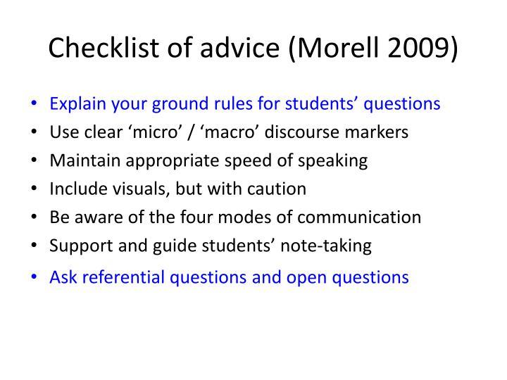 Checklist of advice (