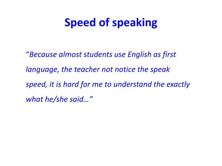 Speed of speaking