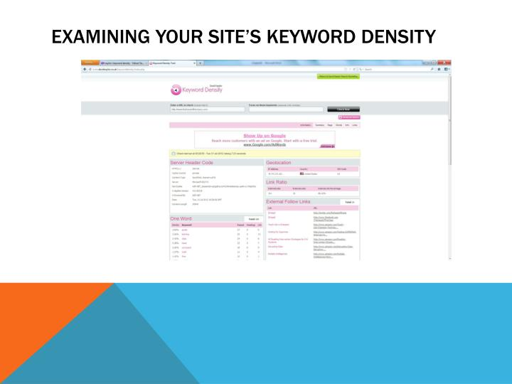 Examining Your Site's Keyword Density