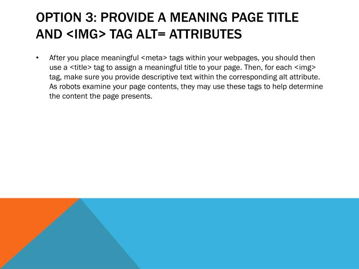 Option 3: Provide a Meaning Page Title and <