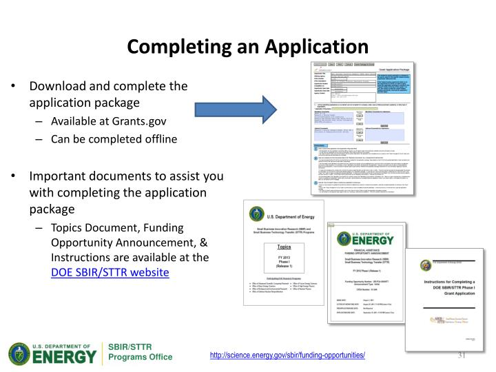 Completing an Application