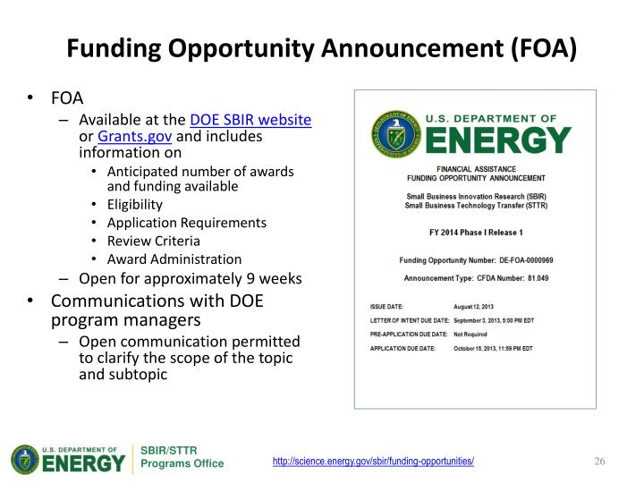 Funding Opportunity Announcement (FOA)