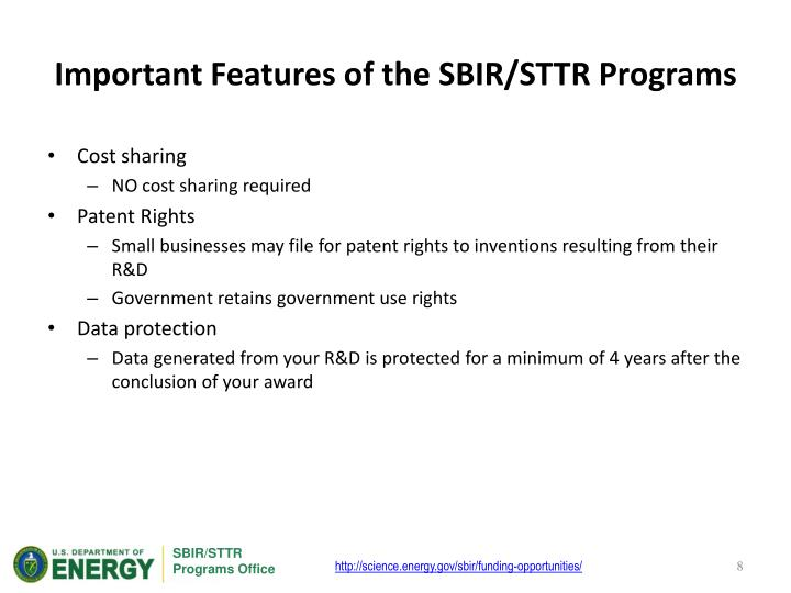 Important Features of the SBIR/STTR Programs