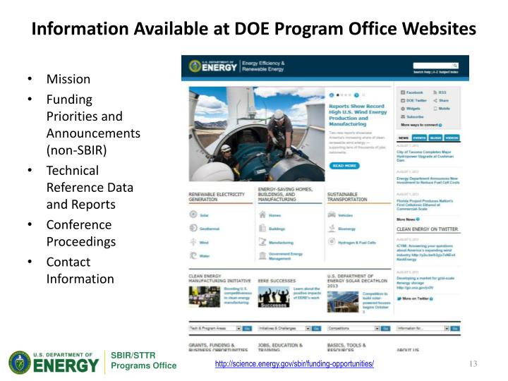 Information Available at DOE Program Office Websites