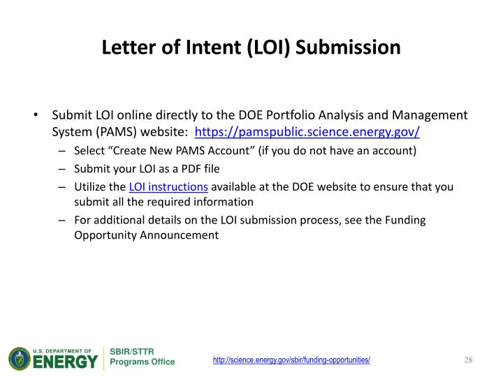 Letter of Intent (LOI) Submission