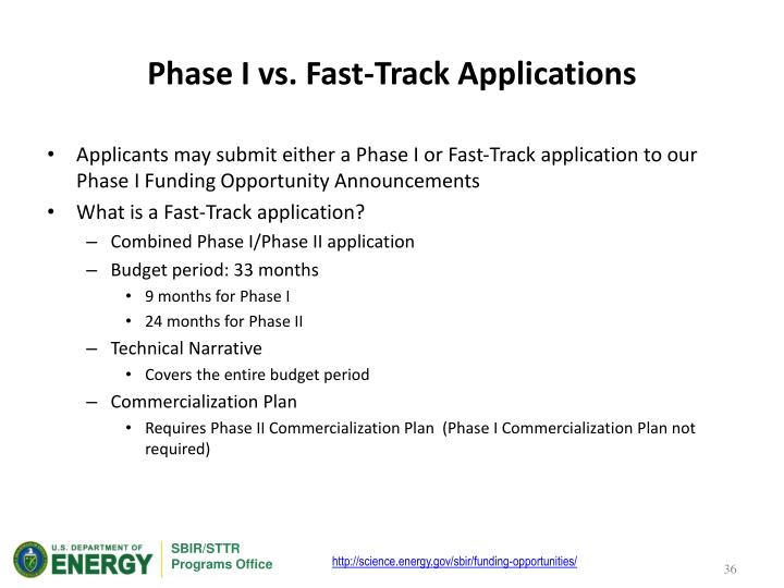 Phase I vs. Fast-Track Applications
