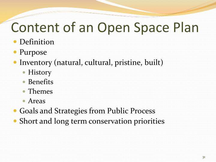 Content of an Open Space Plan