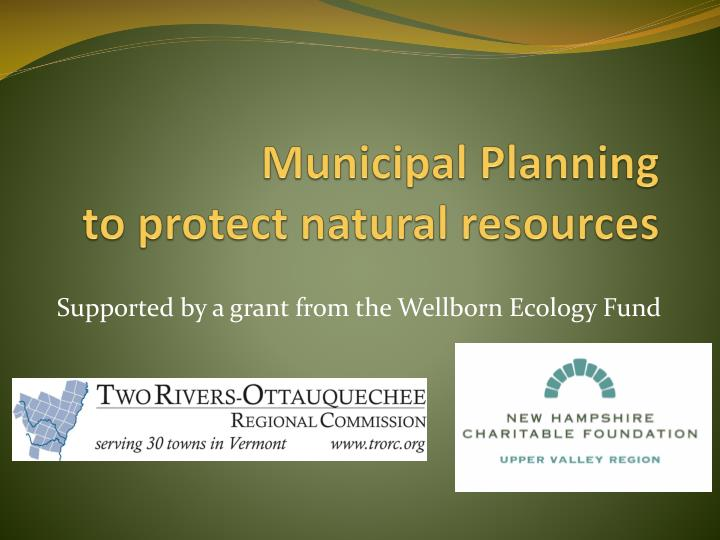 Municipal planning to protect natural resources