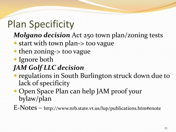 Plan Specificity