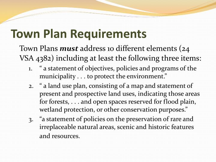 Town Plan Requirements