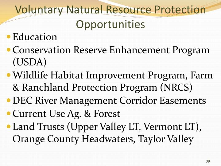 Voluntary Natural Resource Protection Opportunities