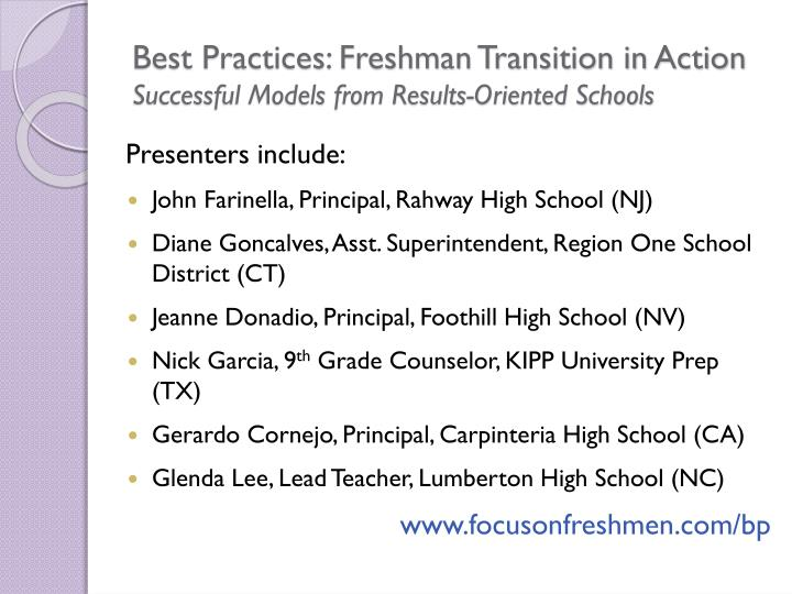 Best Practices: Freshman Transition in Action