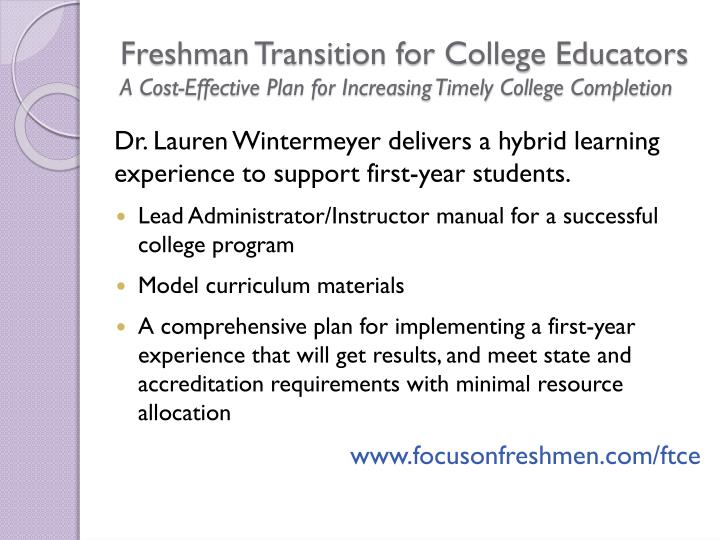 Freshman Transition for College Educators