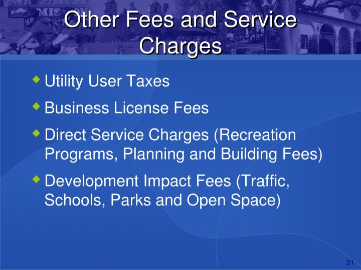 Other Fees and Service Charges