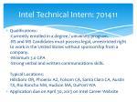 intel technical intern 701411