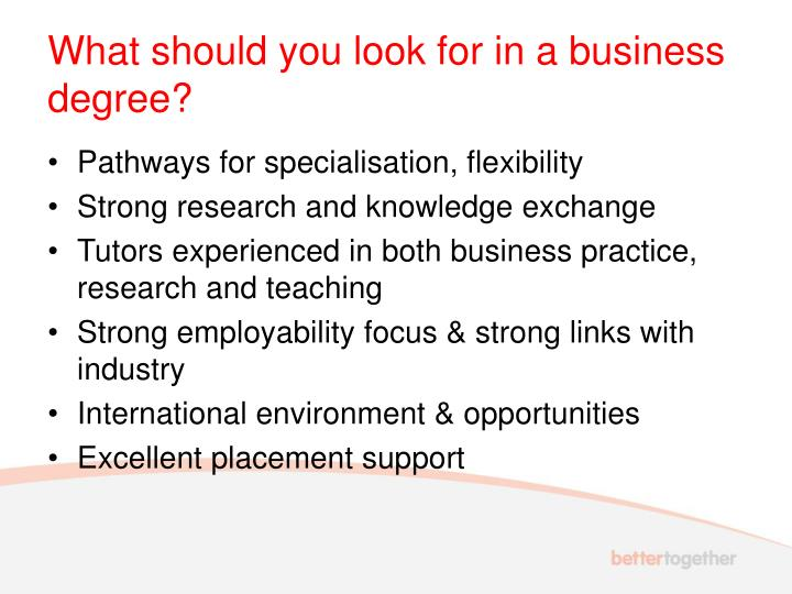 What should you look for in a business degree?