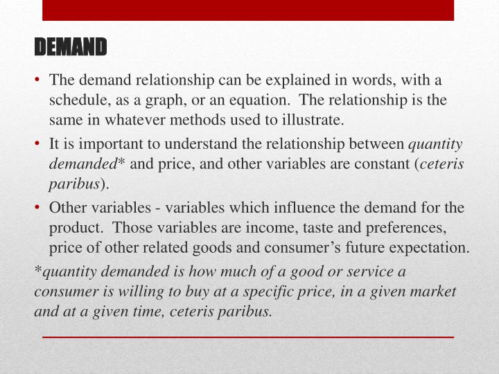 The demand relationship can be explained in words, with a schedule, as a graph, or an equation.  The relationship is the same in whatever methods used to illustrate.