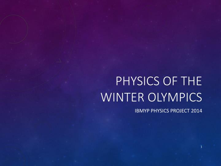 physics of the winter olympics n.