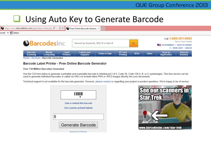 Using Auto Key to Generate Barcode
