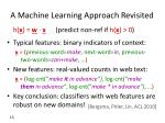 a machine learning approach revisited