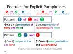 features for explicit paraphrases