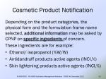 cosmetic product notification33