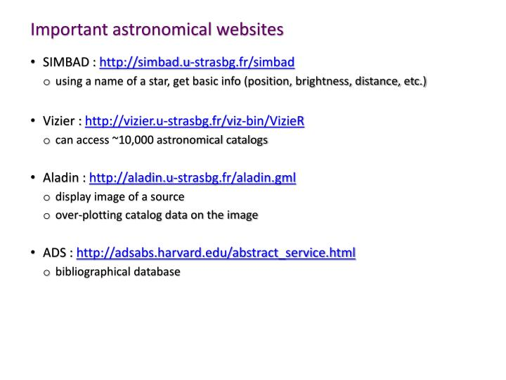 Important astronomical websites
