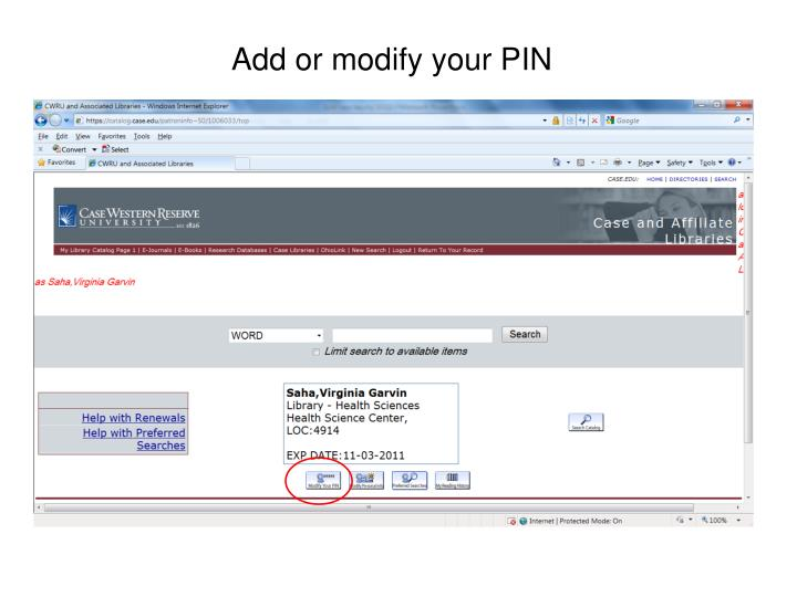Add or modify your PIN