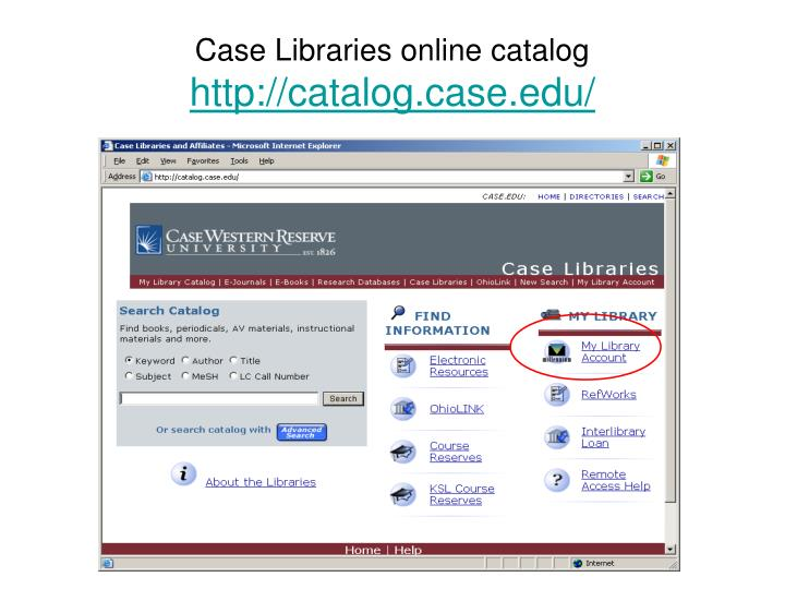 Case Libraries online catalog