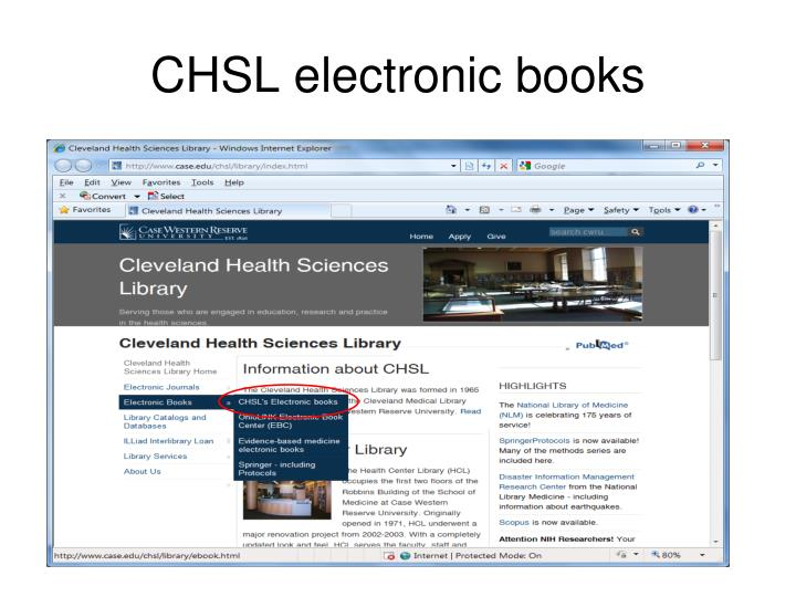 CHSL electronic books