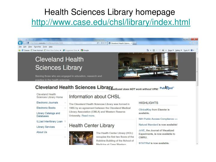 Health Sciences Library homepage