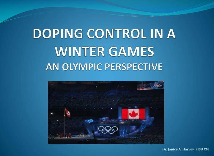 doping control in a winter games an olympic perspective n.