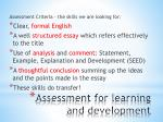 assessment for learning and development