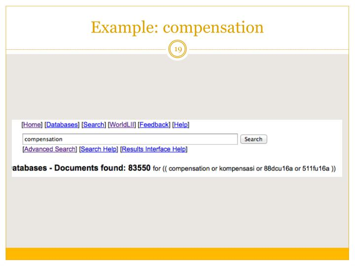 Example: compensation