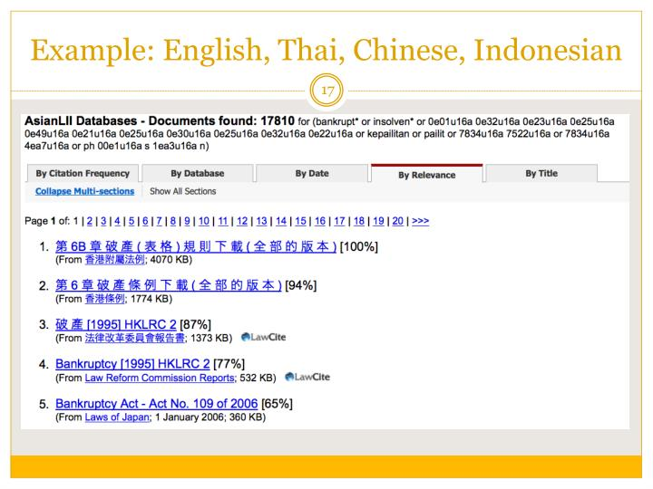 Example: English, Thai, Chinese, Indonesian