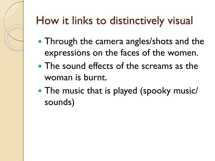 How it links to distinctively visual