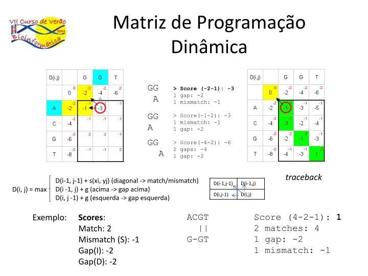 Matriz de Programação Dinâmica