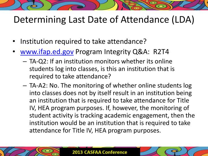 Determining Last Date of Attendance (LDA)